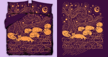 Starry Cats Lazy Night
